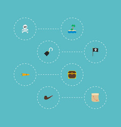 Set of piracy icons flat style symbols with vector