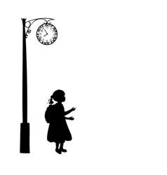silhouette girl school bag waiting vector image