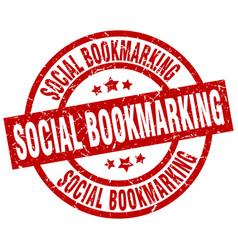 Social bookmarking round red grunge stamp vector