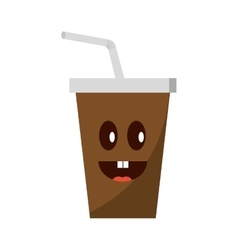 soda drink glass with straw vector image vector image
