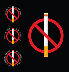 Stop smoking sign on black background vector