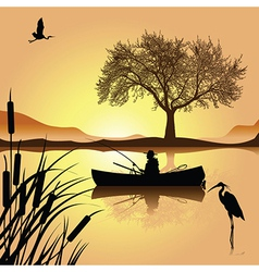 Sunset lake vector