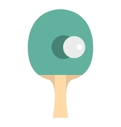 Table tennis racket with ball icon flat style vector image
