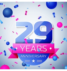 Twenty nine years anniversary celebration on grey vector image