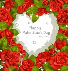Valentines Day card with red roses and diamonds vector image