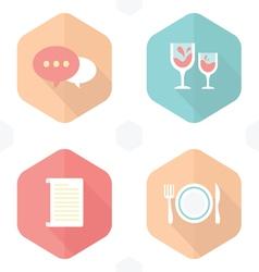 Wedding symbols drink paper food vector