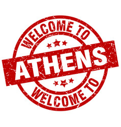 Welcome to athens red stamp vector