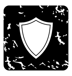 White shield icon grunge style vector
