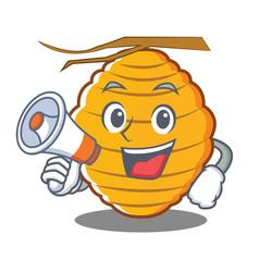 With megaphone bee hive character cartoon vector
