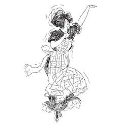 Woman dancing shot at night vintage engraving vector
