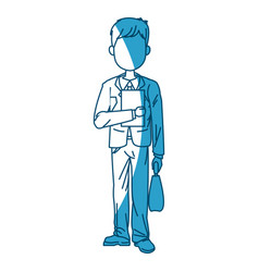 Young business man standing with paper portfolio vector