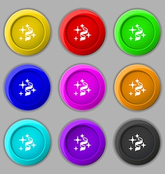Tape icon sign symbol on nine round colourful vector image