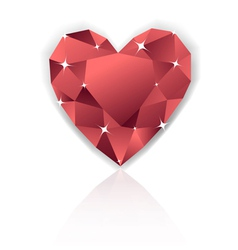 Shiny red heart diamond with reflection vector image