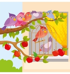 Birds Sitting On Branch vector image
