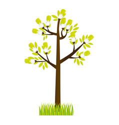 Colorful silhouette tree leafy with grass vector
