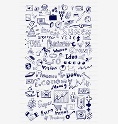 mega set of business and finance hand drawn doodle vector image