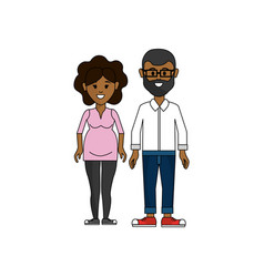 Dark skin couple man with glasses and woman vector