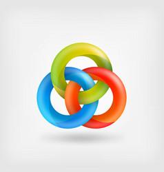 three abstract interlocking rings vector image