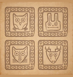 Tribal style animal stamps set mayan ornamental vector