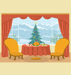 Room with christmas tree in window vector