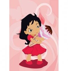 Girl with ice-cream vector