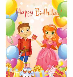 Happy birthday princess and prince greeting card vector