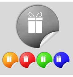 Gift box sign icon Present symbol Set colourful vector image
