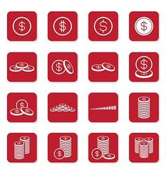 Money coin icon set red box vector