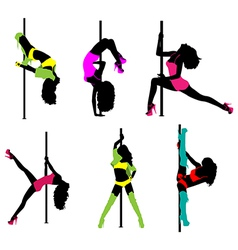 Women pole dance vector