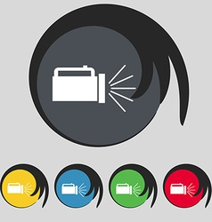 Flashlight icon sign symbol on five colored vector