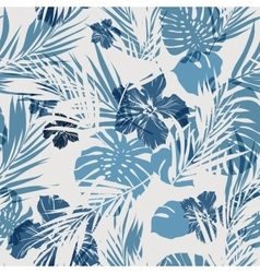 Tropical seamless monochrome blue indigo vector