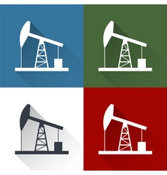 Set oil derrick icon vector