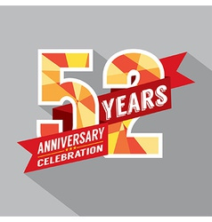52nd Years Anniversary Celebration Design vector image