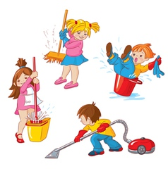Children busy cleaning up apartments vector