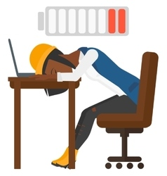 Man sleeping at workplace vector