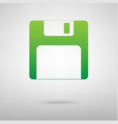 Floppy disk green icon vector