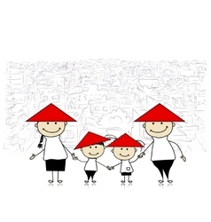 Happy family traveling in asia sketch for your vector