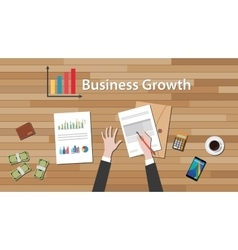 Business growth businessman work on this table vector