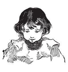 A innocent face of a boy vintage engraving vector