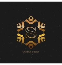 art-deco golden frame vector image
