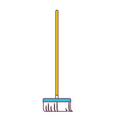 broom with wooden stick in color sections vector image vector image