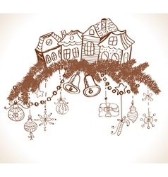 Christmas decoration with homes vector image vector image