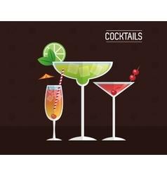 Cocktails glasses drink black background vector