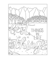 Coloring book page with mountain and lake scenery vector