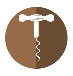 Corkscrew wine handle shadow vector