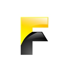 Creative yellow and black symbol letter f for your vector