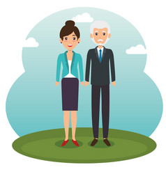 Diversity couple standing design vector