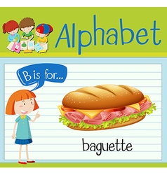 Flashcard letter b is for baguette vector