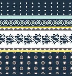 folk floral blue and yellow seamless vector image vector image