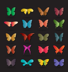 group of colorful butterfly on black background vector image